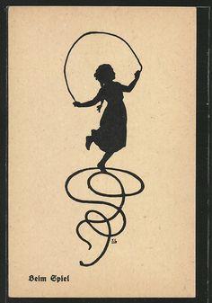 Alte Ansichtskarte: AK Heim Spiel, junges Mädchen mit einem Springseil, Scherenschnitt. 4,00 €