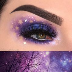 She's got major skills. Thank you @swayzemorgan ・・・ Starry night inspo SHADOWS: all shadows from the @juviasplace The Magic palette, with star stickers removed after