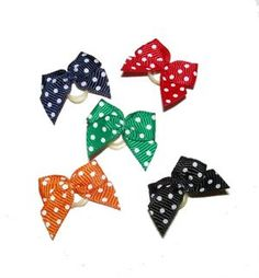 Dog Hair Bow - Polka Dot Bright Elastics Group of 5.  Perfect for Boy dogs.  $12.50 for the group.