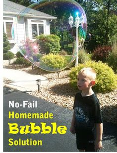 No-Fail Homemade Bubble Solution   BitznGiggles.com  Makes gigantic bubbles larger than your kids' heads and doesn't use glycerin!  #homemade, #diy, #bubbles