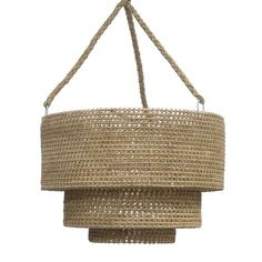 """- Core rattan hand-wrapped with natural lampakanai rope. Plug in pendant with inline switch complete with three braided hangers for hanging. 22' average length of cord from pendant to socket. - 30""""d x"""