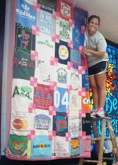 AΞ∆ quilt! I want to do this with all my shirts to keep my sisterhood memories with me always :)