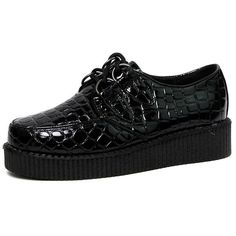 Mia Black Patent Croc Print Creeper Shoe-4 (152.220 IDR) ❤ liked on Polyvore featuring shoes, black, patterned shoes, crocs shoes, black creeper shoes, black shoes and crocodile shoes