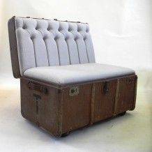 Suitcase Chair -Linen Trunk. Very cool store with lots of repurposed vintage…