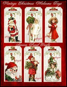 Altered Art Vintage Christmas Welcome Tags - Digital