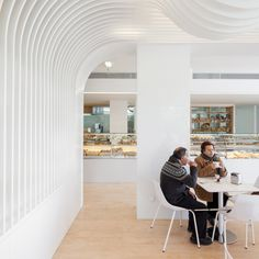 Six bakeries and sweets shops with delectable interiors Pastel Interior, Interior Walls, Terrazzo Flooring, Wooden Flooring, Yellow Tile, White Ceiling, Plaster Walls, Wood Furniture