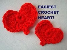 Easiest Crochet Heart tutorial by Hectanooga1 on youtube. Quick hearts great for last minute Valentine's Day Projects. This heart is simple enough for beginners in crochet.