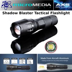 Shadow Blaster Tactical Zoom Flashlight + Battery & Charger