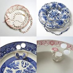 I absolutely love this new jewelry collection from artist Gesine Hackenberg, created from repurposed fine china. The hole-ridden plates the process produce