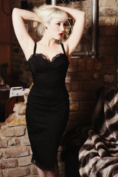 Pinup rockabilly black lace wiggle dress by holachicaclothing, $130.00