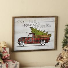 Farmhouse Christmas Ornaments, Christmas Truck, Christmas Tree Farm, Plaid Christmas, Christmas Signs, Rustic Christmas, Christmas Ideas, Diy Christmas Decorations For Home, Holiday Decor