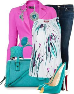 Pink blazer, watercolor blouse and jeans