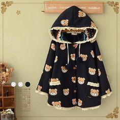 Japanese kawaii cartoon bear hooded cloak coat