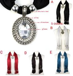Oval shaped charm with big glass stones pendant scarves necklace