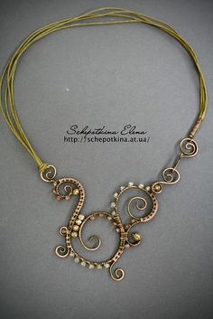 """Восточный аромат"", via Flickr.  I love all the spirals in this wire wrapped necklace.  So elegant."