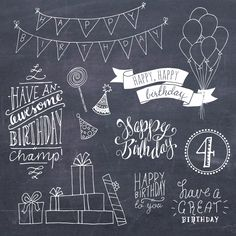 CLIPART-GRAFIK: Geburtstag Photoshop Overlays / / Psd Layered