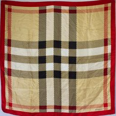 DESIGNER BURBERRY 90S VINTAGE BEIGE RED CHECK KNIGHT LOGO SILK 34  SQUARE SCARF Knight Logo, Square Scarf, Burberry, Beige, Silk, Logos, Check, Red, Ebay