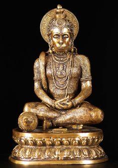 View the Brass Meditating Hanuman Statue at Hindu Gods & Buddha Statues Hanuman Pics, Hanuman Images, Shri Hanuman, Small Buddha Statue, Buddha Statues, Hanuman Ji Wallpapers, Monkey Pictures, Hindu Statues, Ganesh Statue