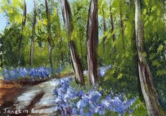 Bluebell Trail ACEO Flowers Forest Original Landscape ACEO acrylic painting