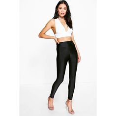Boohoo Amerie High Shine High Waist Disco Pants (6.27 AUD) ❤ liked on Polyvore featuring pants, high waist pants, white pants, palazzo pants, white palazzo pants and high-waisted wide leg pants