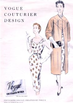 1950s STRAPPY Slim Dress and Clutch Coat Pattern VOGUE COUTURIER Design 792 Day or Cocktail Party Bust 30 Vintage Sewing Pattern