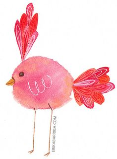 Ribbon Bird Watercolor Print by erika_b, via Flickr