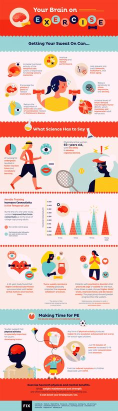 Your #brain on #exercise. #infographic #health #learning #mental #alzheimer #dementia #aging #stress #depression #anxiety #neuron #parkinson #endorphin #neuroscience #chemistry #coordination #PituitaryGland #TemporalLobe #memory #sensory #science #cognitive #decline #running #vocabulary #language #walking #connectivity #training #fitness #VerbalMemory #Psychiatry #disorder #MentalHealth #GABA #yoga #mood #emotion #heart #development #IQ #concentration #attention #intelligence #ADHA…