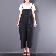 e5d5ec0b12fd Summer Casual Loose Women Cotton Linen Black Jumpsuit