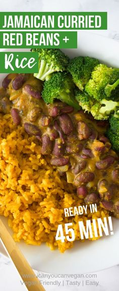If you're looking for tasty comfort food, this Jamaican Curried Red Beans and Turmeric Rice recipe i Jamaican Dishes, Jamaican Recipes, Curry Recipes, Vegetarian Recipes, Cooking Recipes, Healthy Recipes, Jamaican Cuisine, Turmeric Recipes, Easy Recipes