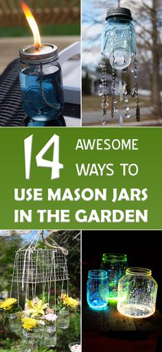 In this collection we offer a whole bunch of ways in which you can repurpose your mason jars into something useful and beautiful for your garden. Blue Mason Jars, Bottles And Jars, Mason Jar Gifts, Mason Jar Diy, Jar Crafts, Bottle Crafts, Fun Stuff To Do At Home, Outdoor Projects, Diy Projects