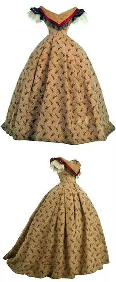 1865-1868 two-piece evening dress.