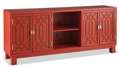 Ming media cabinet in lacquered birch by Hotel Maison, 214-306-6438; hotelmaison.com