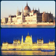 Budapest sights: Hungarian Parliament Building day/night series on the banks of the Danube river #travel #hungary #budapest #river #water #sightseeing #parliament