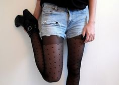 ripped jean shorts with tights