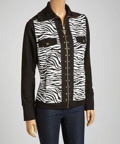 Look what I found on #zulily! Black & White Zebra Zip-Up Jacket #zulilyfinds
