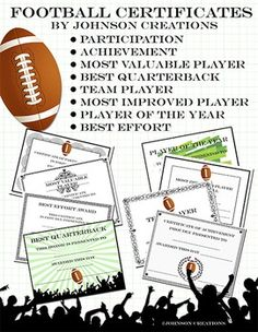 Free printable football certificates and awards football reward and reinforce your team members with these awesome football certificates included in the set yadclub Gallery