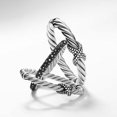 Darkened sterling silver is a David Yurman signature. It adds depth and drama, and is the perfect setting for sparkling pavé diamonds.