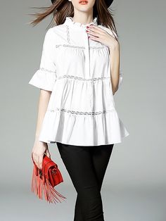 White Paneled A-line Cotton-blend Half Sleeve Blouse - StyleWe.com