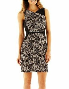 3e0c607a1cf97a Studio One Sand Black Bonded-lace Contrast Above Knee Cocktail Dress Size 6  (S) 50% off retail