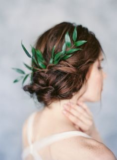 Unfussy bridal twists adorned with fresh greenery
