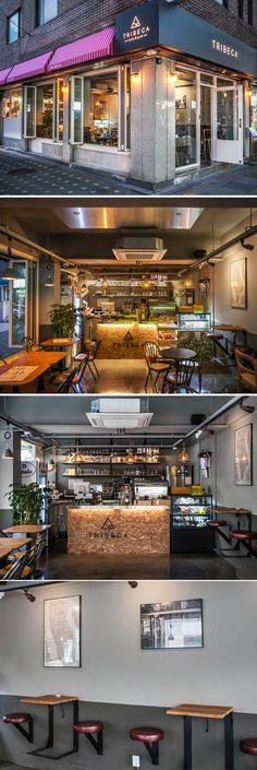 [No.131 트라이베카] 망원동 16평 인더스트리얼 카페펍 인테리어, 합판, 어닝, 폴딩도어, 예쁜커피숍 Pub Interior, Restaurant Interior Design, Restaurant Concept, Cafe Restaurant, Loft Cafe, Cafe Concept, Industrial Cafe, Cafe Bistro, Coffee Shop Design