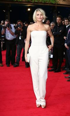 Cameron Diaz White tubetop jumpsuit for the spot light.. I so want to try this with slicked back dark hair and red lips!
