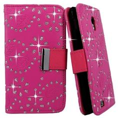 myLife Vibrant Rose Pink {Glitter Flowers and Dots Design} Faux Leather (Card, Cash and ID Holder + Magnetic Closing) Slim Wallet for Galaxy...