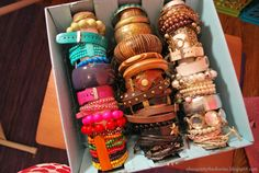 DIY bracelet storage - great for in a drawer, from a box & paper towel tubes