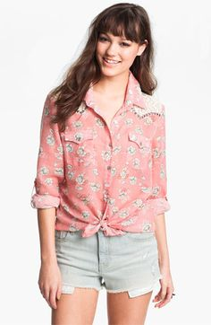 Living Doll Studded Floral Western Shirt (Juniors) available at #Nordstrom