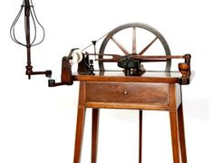 "Austen family ""Planta"" spinning wheel in the shape of a table, with Sheraton style legs and a drawer. Image @BBC Radio 4"