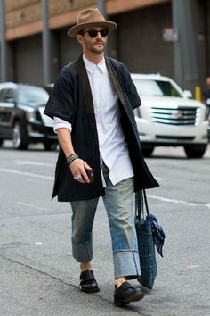 It's all in the proportions: wide-legged cuffed pants and a long shirt. (Photo: Marcy Swingle for The New York Times)