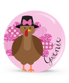 Love this Pink Turkey Personalized Plate by Tin Tree Gifts on #zulily! #zulilyfinds