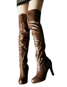 Vintage Brown Cow Leather Buckle Women's High Heel Over The Knee Boots