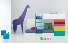 Mind Blowing Ideas To Decorate Kids Bedroom Designs : Exquisite Decoration Design With White Wood Frame In Blue Sheet Bunk Bed And Blue Wood Ladder Also Colorful Dresser For Boys Kids Bedroom